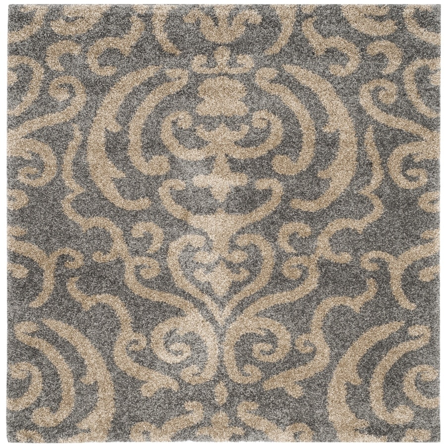 Safavieh Florida Shag Grey/Beige Square Indoor Machine-Made Area Rug (Common: 5 x 5; Actual: W x L x 0-ft Dia)