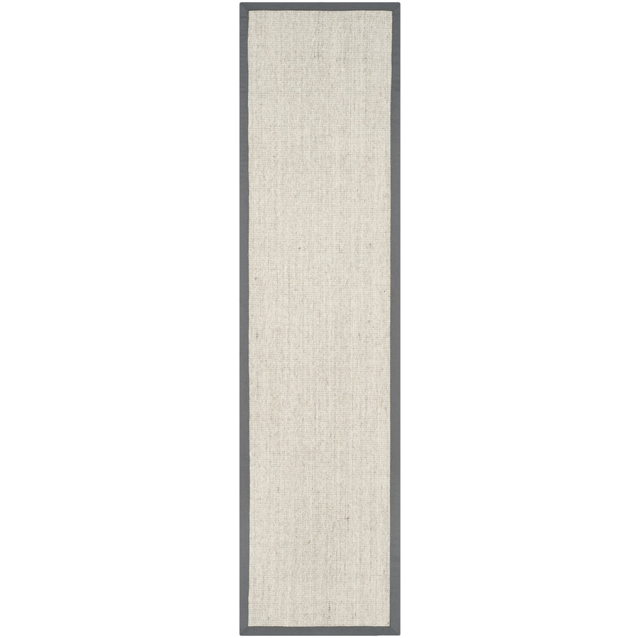Safavieh Natural Fiber Saltaire Marble/Gray Rectangular Indoor Machine-made Coastal Runner (Common: 2 x 12; Actual: 2-ft W x 12-ft L)