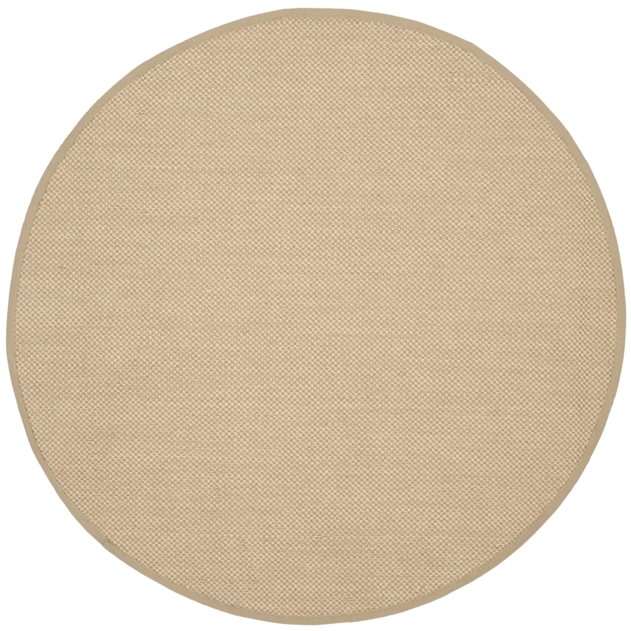 Safavieh Natural Fiber Seaview Maize/Linen Round Indoor Coastal Area Rug (Common: 6 x 6; Actual: 6-ft W x 6-ft L x 6-ft dia)
