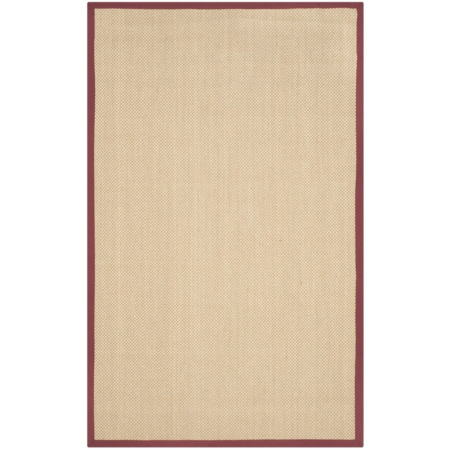 Safavieh Natural Fiber Seaview Maize/Burgundy Indoor Coastal Area Rug (Common: 4 x 6; Actual: 4-ft W x 6-ft L)