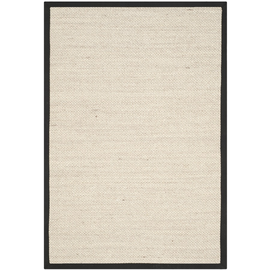 Safavieh Natural Fiber Pines Marble/Black Rectangular Indoor  Coastal Throw Rug (Common: 3 x 5; Actual: 3-ft W x 5-ft L)