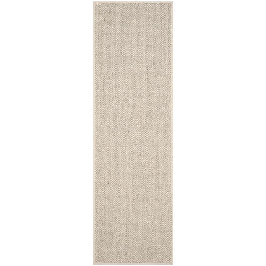 Safavieh Natural Fiber Pines Marble/Beige Rectangular Indoor Machine-Made Coastal Runner (Common: 2 x 6; Actual: 2.5-ft W x 6-ft L)