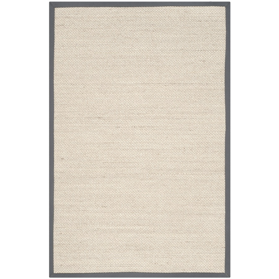 Safavieh Natural Fiber Pines Marble/Dark Gray Indoor Coastal Throw Rug (Common: 3 x 5; Actual: 3-ft W x 5-ft L)