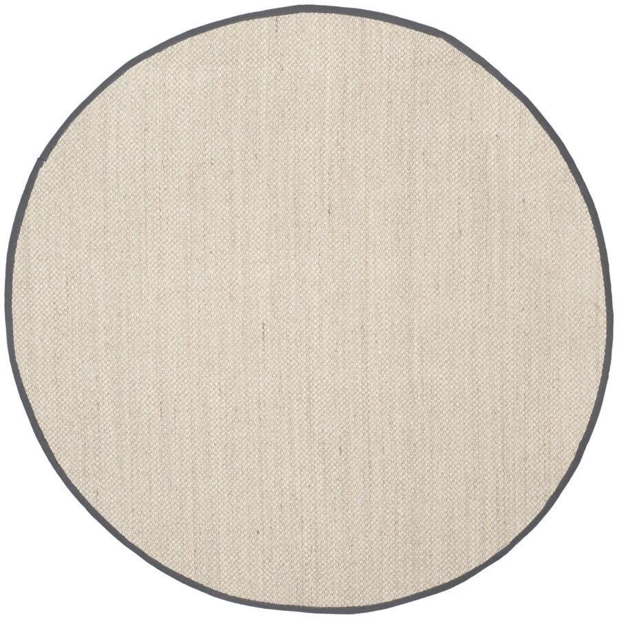 Safavieh Natural Fiber Pines Marble/Dark Gray Round Indoor Coastal Area Rug (Common: 6 x 6; Actual: 6-ft W x 6-ft L x 6-ft dia)
