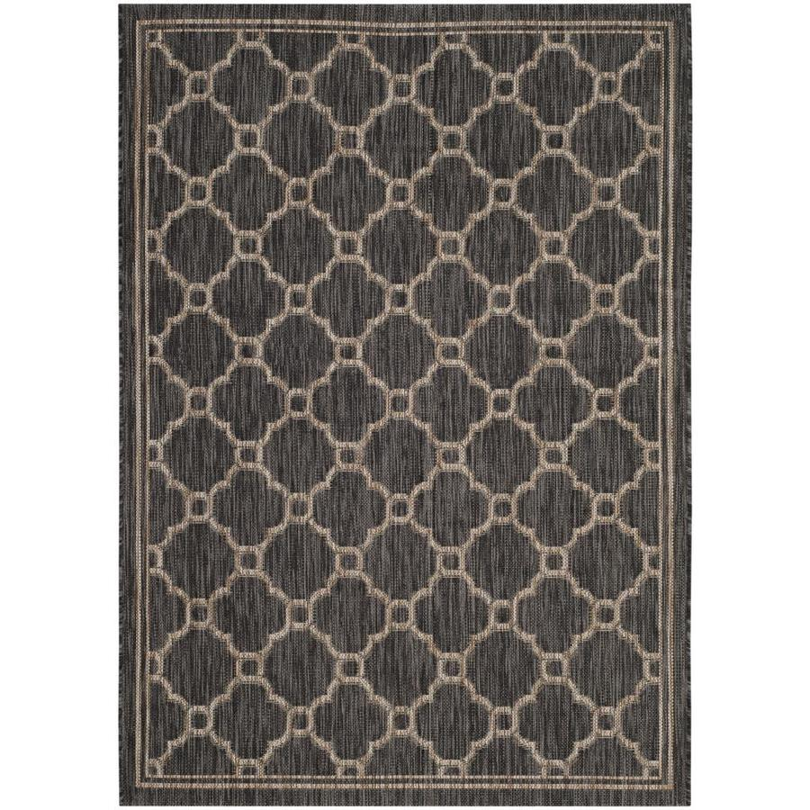 Safavieh Courtyard Piana Natural/Black Rectangular Indoor/Outdoor Machine-made Coastal Area Rug (Common: 4 x 5; Actual: 4-ft W x 5.58-ft L)