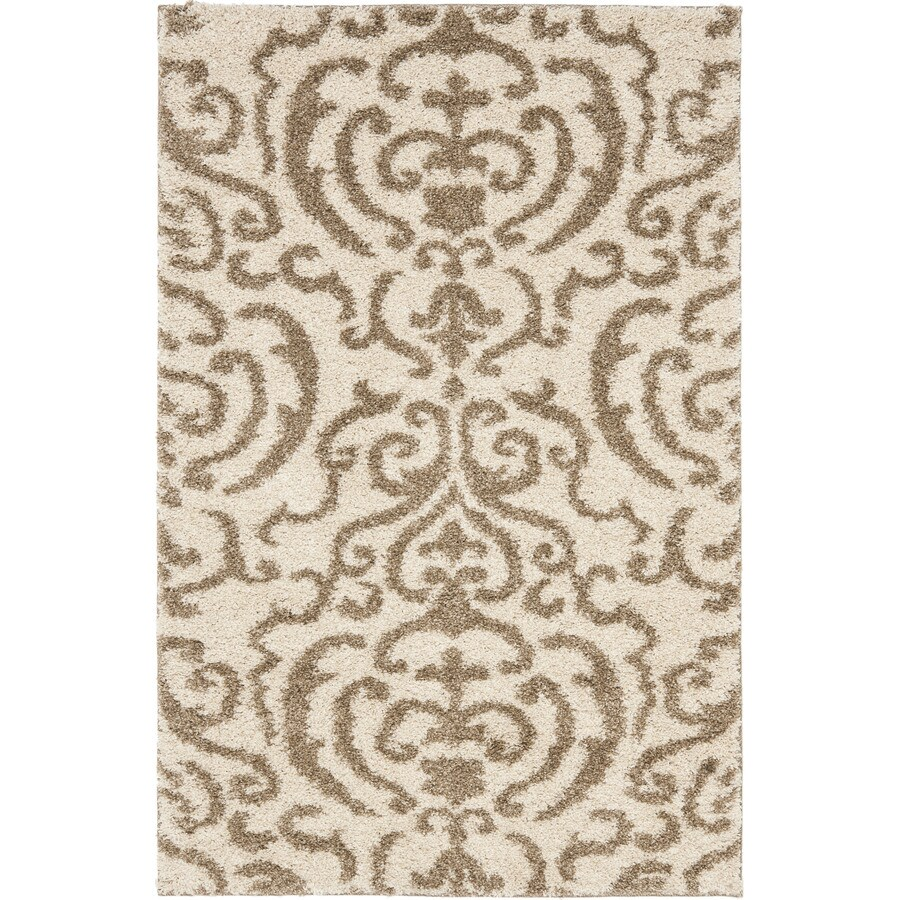 Safavieh Rania Shag Cream/Beige Rectangular Indoor Machine-made Tropical Throw Rug (Common: 2 x 4; Actual: 2.25-ft W x 4-ft L)