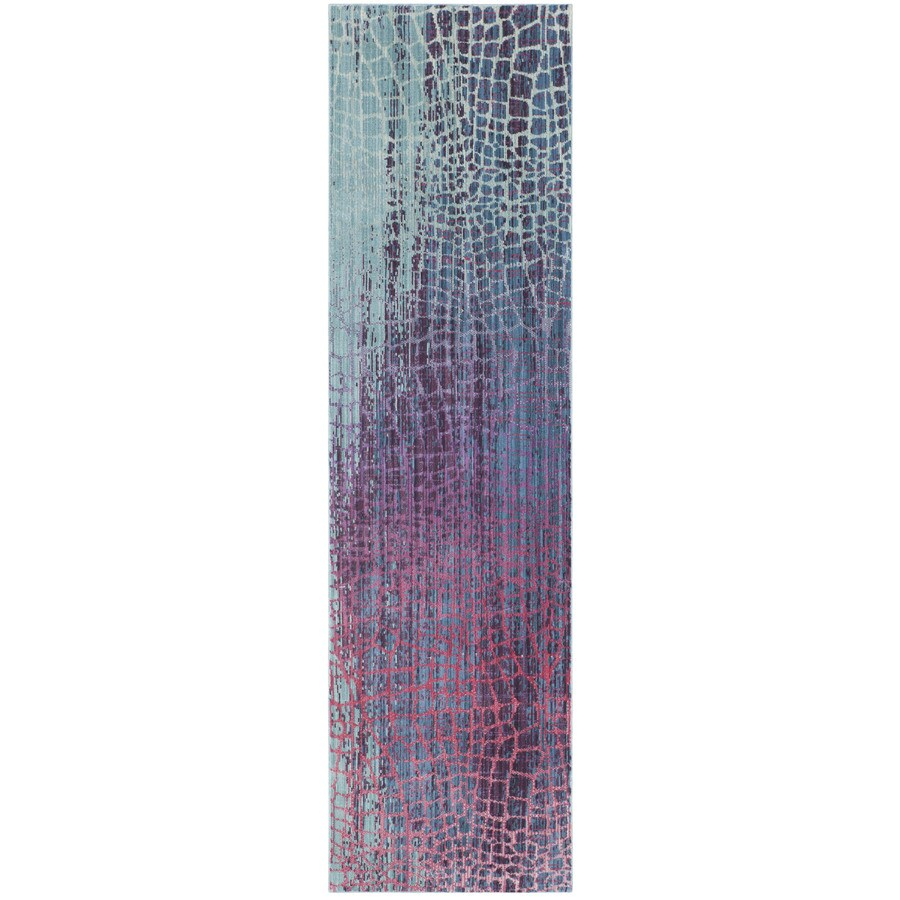 Safavieh Valencia Blue/Fuchsia Rectangular Indoor Machine-Made Distressed Runner (Common: 2.3 x 10; Actual: 2.25-ft W x 10-ft L)