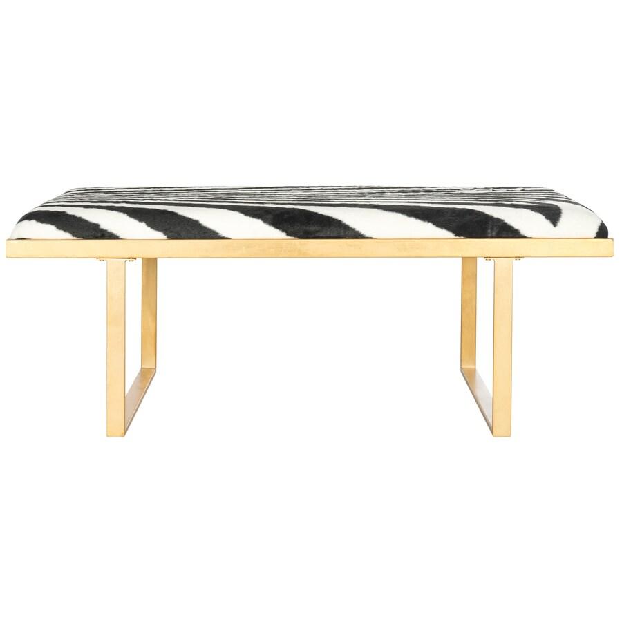 Safavieh Millie Contemporary Zebra/Gold Accent Bench