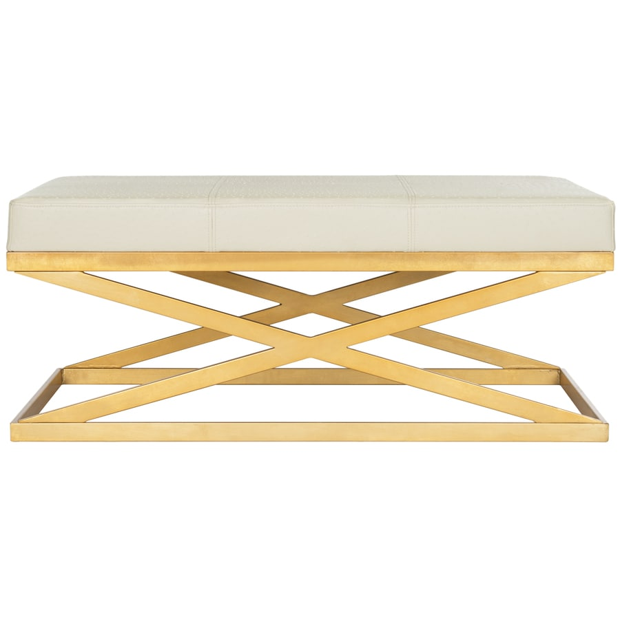 Safavieh Alexes Contemporary Creme/Gold Accent Bench