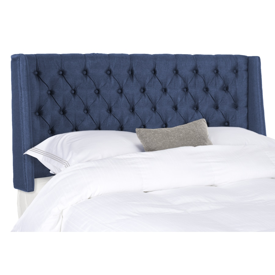 Safavieh Mercer Navy Queen Linen Upholstered Headboard