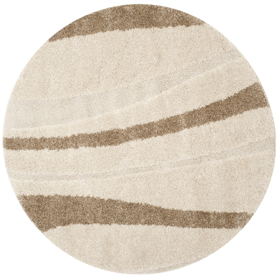 Safavieh Willow Shag Cream/Dark Brown Round Indoor Machine-Made Tropical Area Rug (Common: 5 x 5; Actual: 5-ft W x 5-ft L x 5-ft Dia)