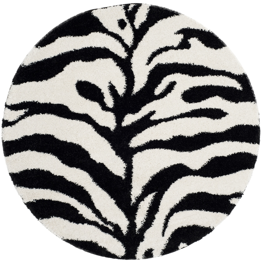 Safavieh Zebra Shag Ivory/Black Round Indoor Machine-Made Animals Area Rug (Common: 5 x 5; Actual: 5-ft W x 5-ft L x 5-ft Dia)