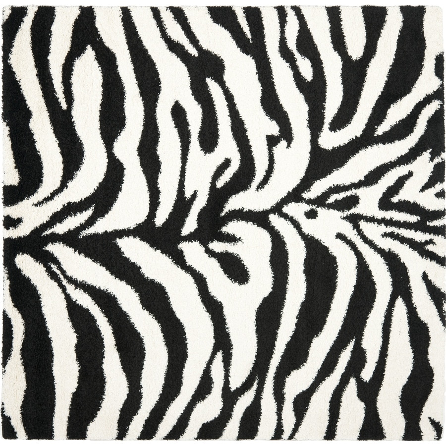 Safavieh Zebra Shag Ivory/Black Square Indoor Machine-made Animals Area Rug (Common: 5 x 5; Actual: 5-ft W x 5-ft L)