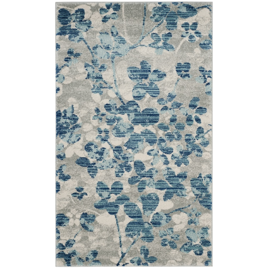 Safavieh Evoke Maxwell Gray/Light Blue Rectangular Indoor Machine-Made Oriental Area Rug (Common: 4 x 6; Actual: 4-ft W x 6-ft L)