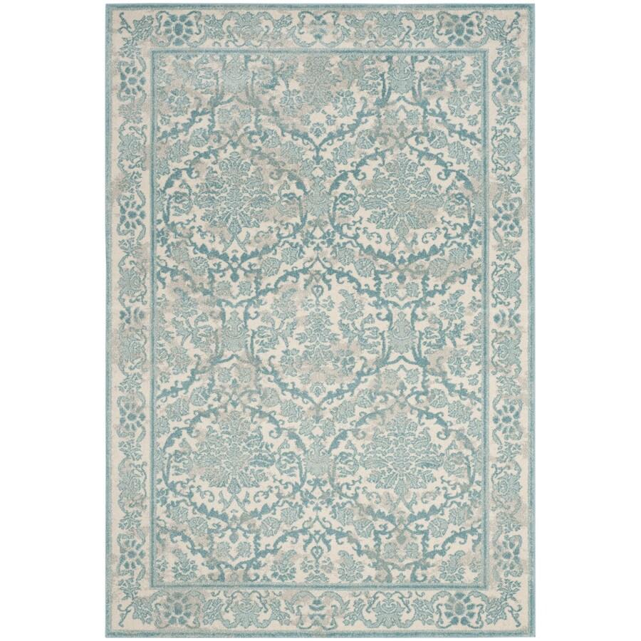 Safavieh Evoke Penny Ivory/Light Blue Rectangular Indoor Machine-Made Oriental Area Rug (Common: 4 x 6; Actual: 4-ft W x 6-ft L)