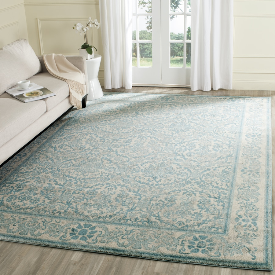 Safavieh Evoke Penny Ivory/Light Blue Rectangular Indoor Machine-Made Oriental Area Rug (Common: 8 x 10; Actual: 8-ft W x 10-ft L)