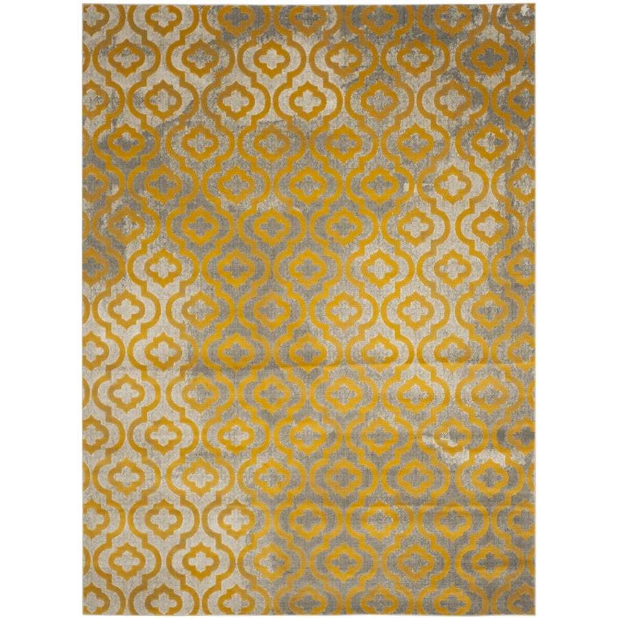 Safavieh Porcello Winfred Gray/Yellow Rectangular Indoor Machine-made Moroccan Area Rug (Common: 9 x 12; Actual: 9-ft W x 12-ft L)