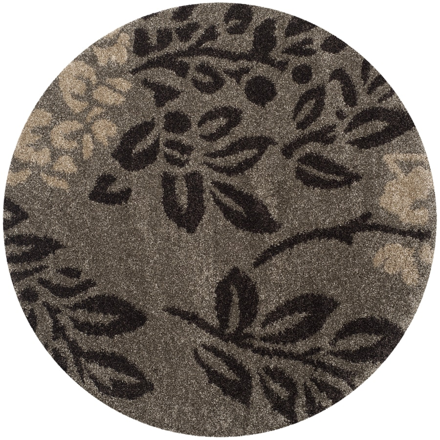 Safavieh Azalea Shag Smoke/Dark Brown Round Indoor Tropical Area Rug (Common: 5 x 5; Actual: 5-ft W x 5-ft L x 5-ft dia)