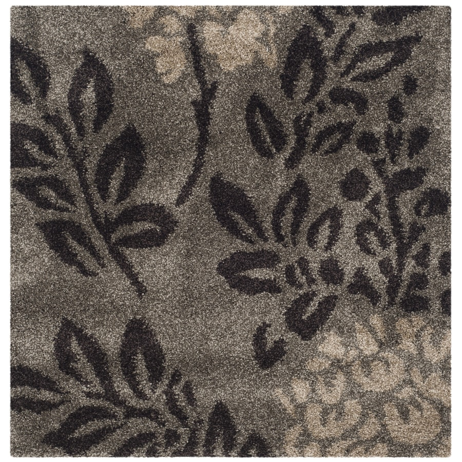 Safavieh Azalea Shag Smoke/Dark Brown Square Indoor Tropical Area Rug (Common: 5 x 5; Actual: 5-ft W x 5-ft L)