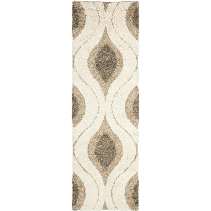 Safavieh Arcell Shag Cream/Smoke Rectangular Indoor Machine-made Tropical Runner (Common: 2 x 14; Actual: 2.25-ft W x 15-ft L)