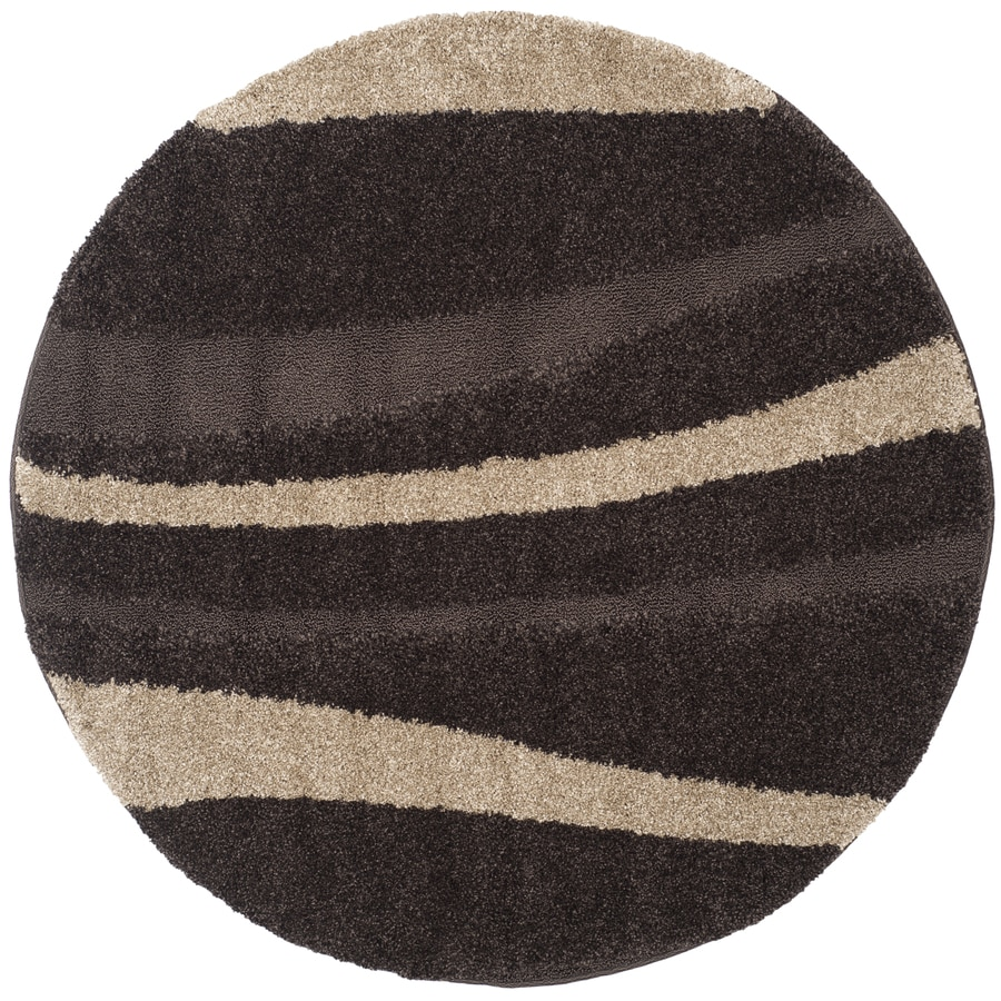 Safavieh Willow Shag Dark Brown/Beige Round Indoor Machine-made Tropical Area Rug (Common: 5 x 5; Actual: 5-ft W x 5-ft L x 5-ft Dia)