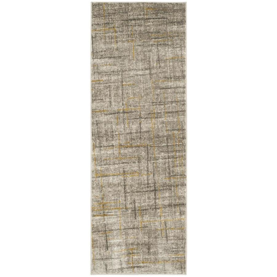 Safavieh Porcello Olivya Gray/Dark Gray Rectangular Indoor Machine-made Distressed Runner (Common: 2 x 9; Actual: 2.33-ft W x 9-ft L)