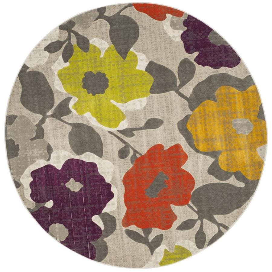 Safavieh Porcello Garland Gray/Yellow Round Indoor Machine-made Nature Area Rug (Common: 6 x 6; Actual: 6.583-ft W x 6.583-ft L x 6.583-ft Dia)