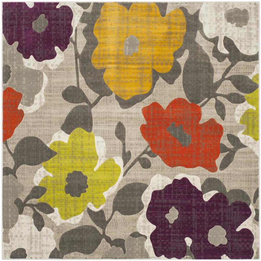 Safavieh Porcello Garland Gray/Yellow Square Indoor Machine-made Nature Area Rug (Common: 6 x 6; Actual: 6.583-ft W x 6.583-ft L)