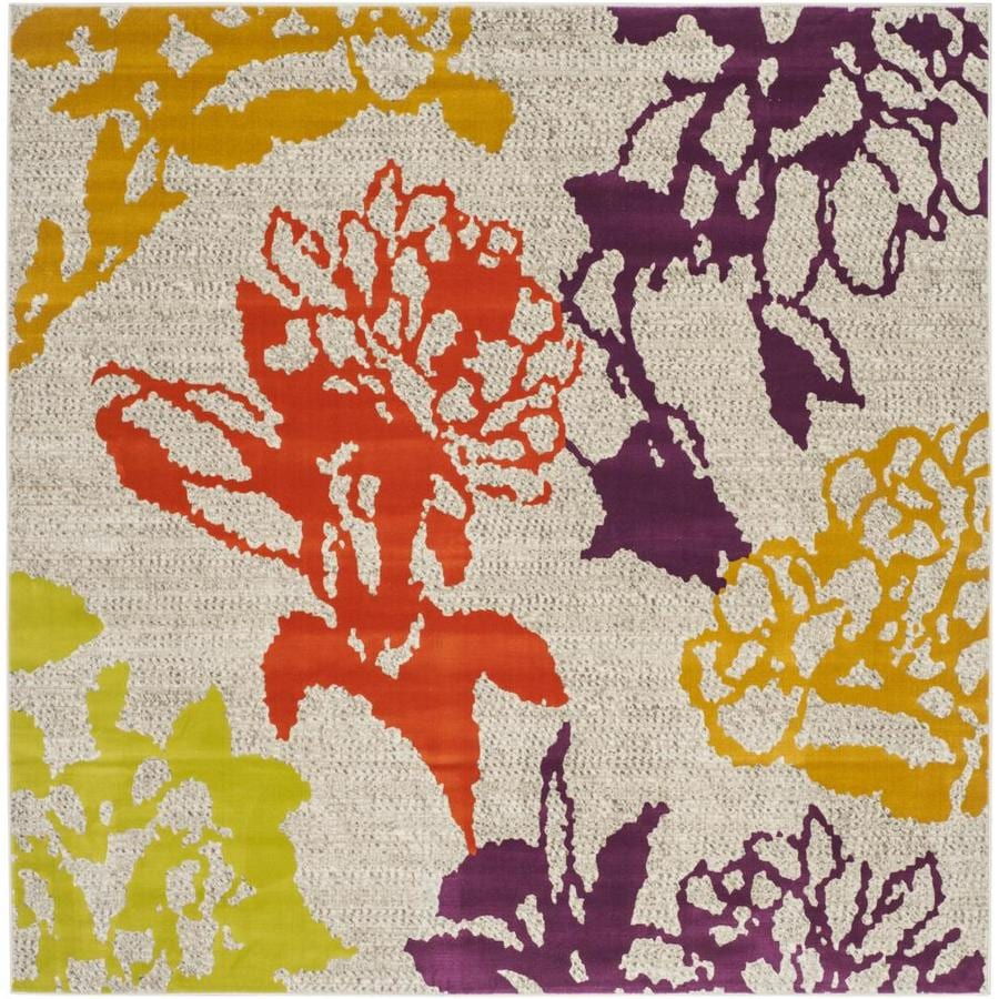 Safavieh Porcello Orchid Gray/Purple Square Indoor Machine-made Nature Area Rug (Common: 6 x 6; Actual: 6.583-ft W x 6.583-ft L)