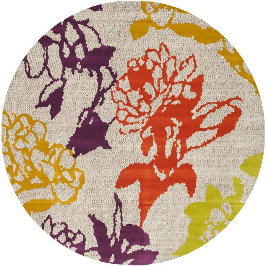 Safavieh Porcello Orchid Gray/Purple Round Indoor Machine-made Nature Area Rug (Common: 6 x 6; Actual: 6.583-ft W x 6.583-ft L x 6.583-ft Dia)