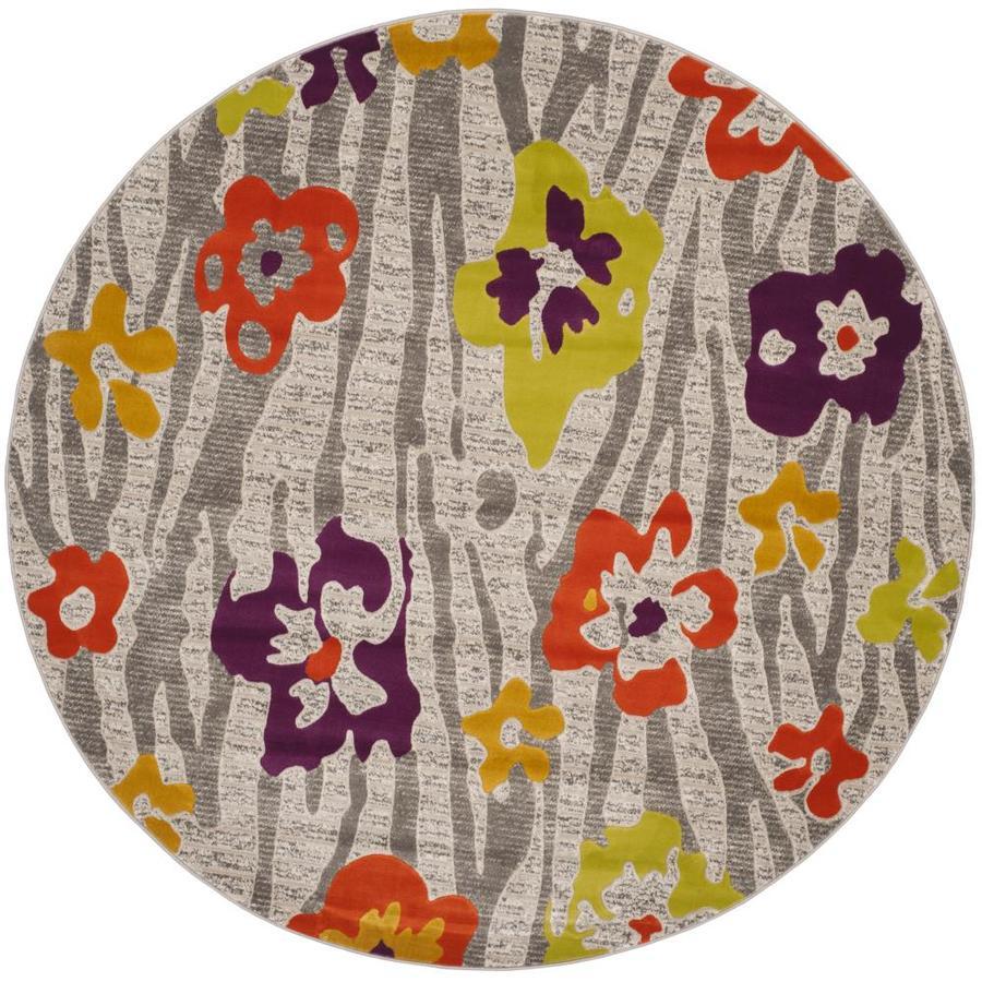 Safavieh Porcello Lillies Gray/Purple Round Indoor Machine-made Nature Area Rug (Common: 6 x 6; Actual: 6.583-ft W x 6.583-ft L x 6.583-ft Dia)