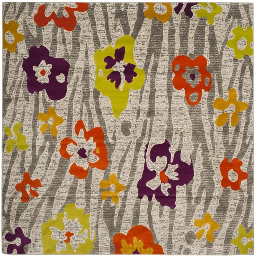 Safavieh Porcello Lillies Gray/Purple Square Indoor Nature Area Rug (Common: 7 x 7; Actual: 6.7-ft W x 6.6-ft L)