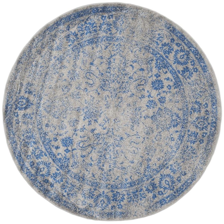shop safavieh adirondack kashan gray blue round indoor machine made lodge area rug common 4 x. Black Bedroom Furniture Sets. Home Design Ideas
