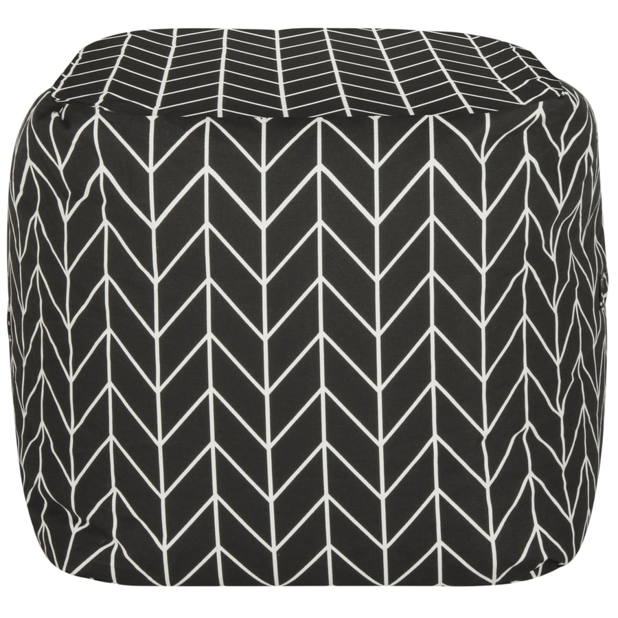 Safavieh French Leaf Casual Black/White Pouf Ottoman