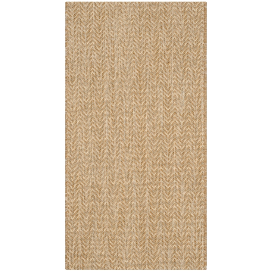 Safavieh Courtyard Newtown Natural/Cream Rectangular Indoor/Outdoor Machine-made Coastal Throw Rug (Common: 2 x 5; Actual: 2.58-ft W x 5-ft L)
