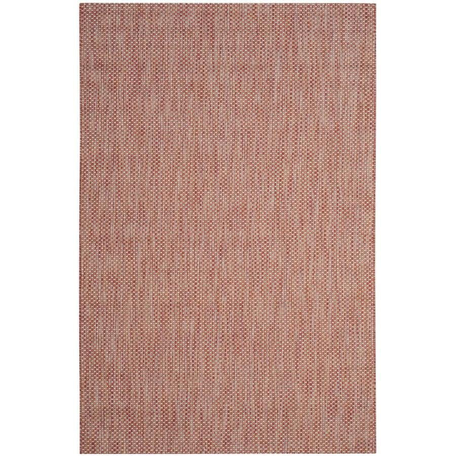 Safavieh Courtyard Verd Red/Beige Rectangular Indoor/Outdoor Machine-made Coastal Area Rug (Common: 4 x 5; Actual: 4-ft W x 5.58-ft L)