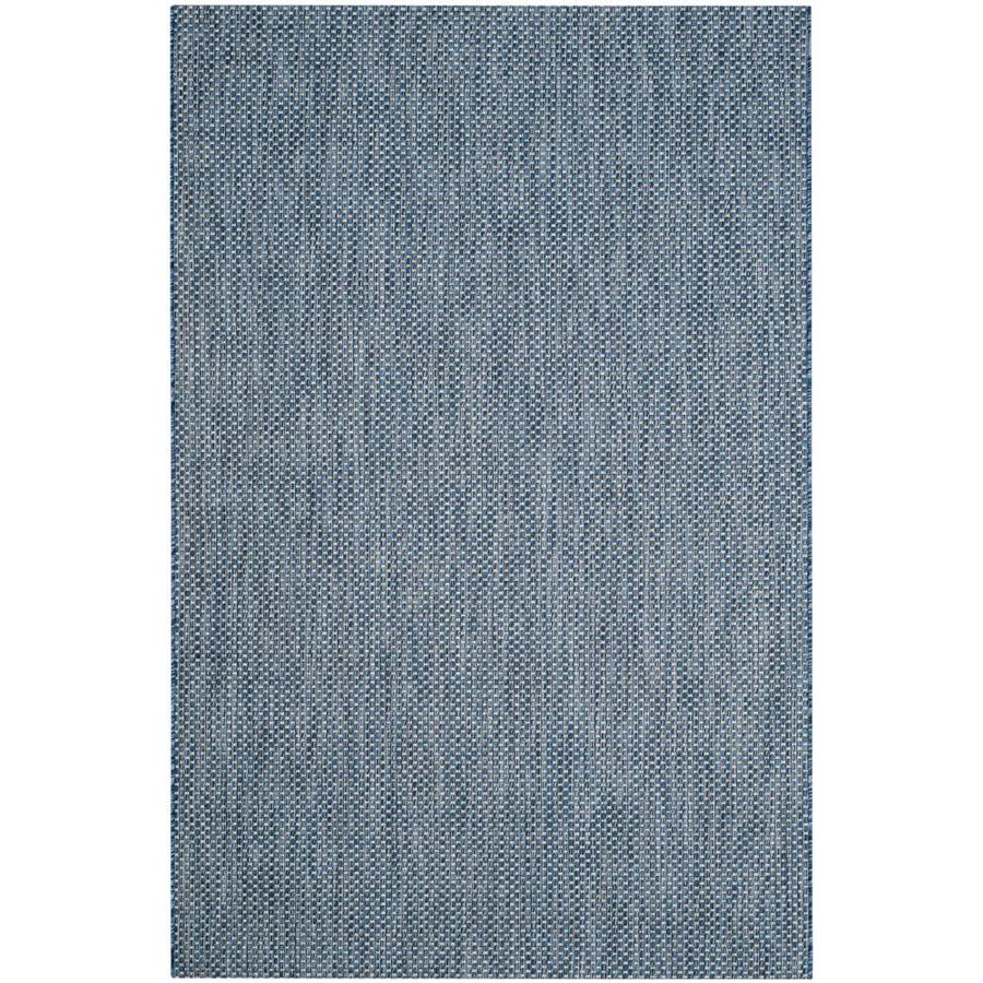 Safavieh Courtyard Verd Navy/Gray Rectangular Indoor/Outdoor Machine-made Coastal Area Rug (Common: 4 x 5; Actual: 4-ft W x 5.58-ft L)