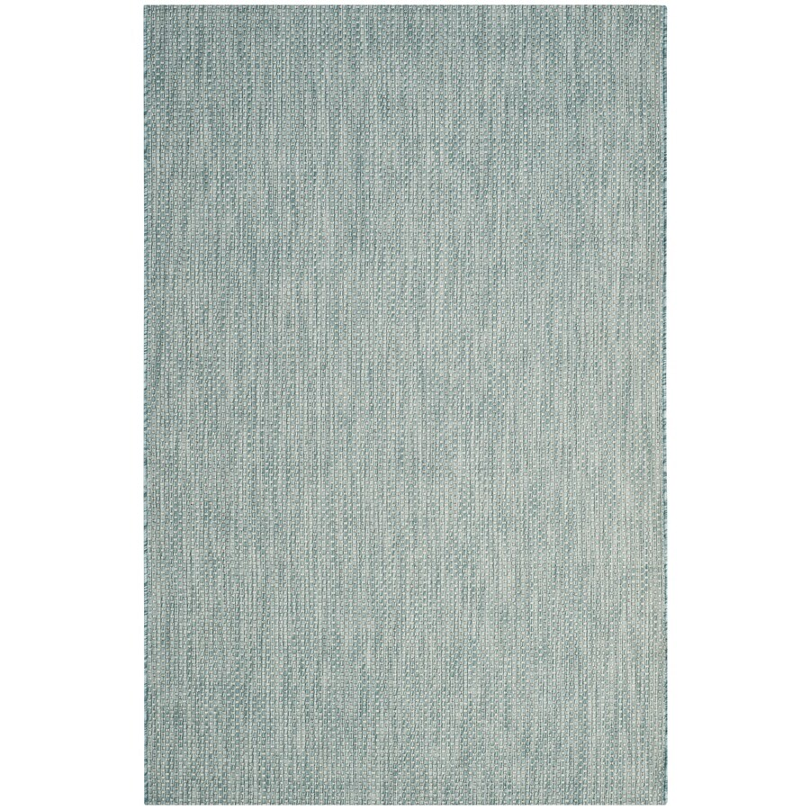 Safavieh Courtyard Verd Aqua/Gray Rectangular Indoor/Outdoor Machine-made Coastal Area Rug (Common: 4 X 5; Actual: 4-ft W x 5.6-ft L x dia)