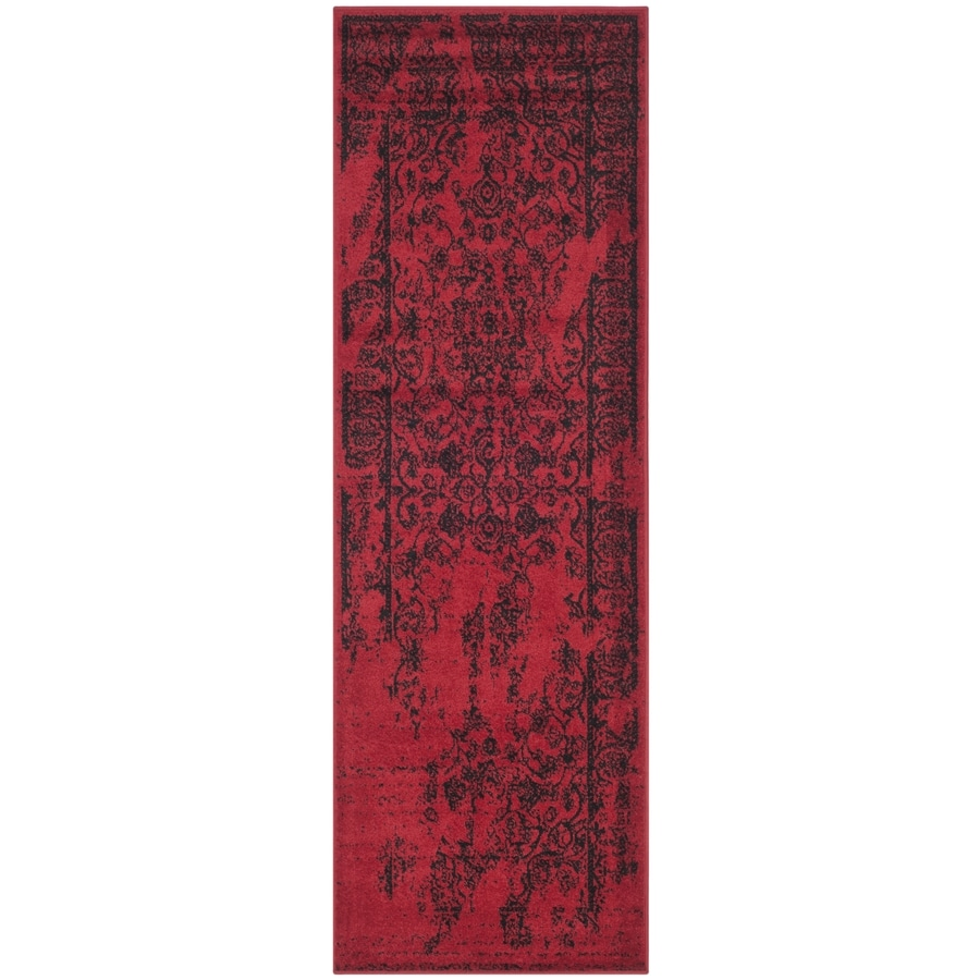 Safavieh Adirondack Plaza Red/Black Rectangular Indoor Machine-Made Lodge Runner (Common: 2 x 14; Actual: 2.5-ft W x 14-ft L)