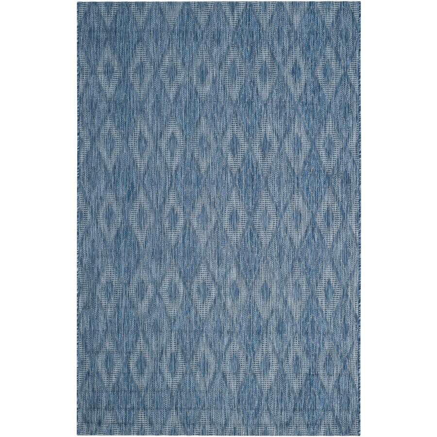 Safavieh Courtyard Freeport Navy/Navy Rectangular Indoor/Outdoor Machine-Made Coastal Area Rug (Common: 6 x 9; Actual: 6.58-ft W x 9.5-ft L)