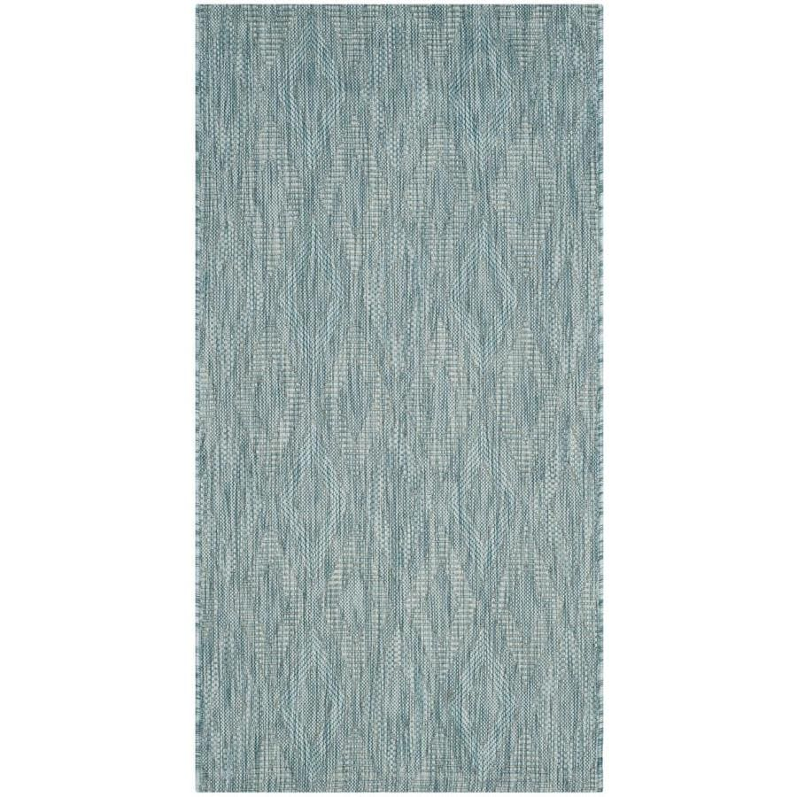 Safavieh Courtyard Freeport Aqua/Aqua Rectangular Indoor/Outdoor Machine-made Coastal Throw Rug (Common: 2 x 5; Actual: 2.58-ft W x 5-ft L)