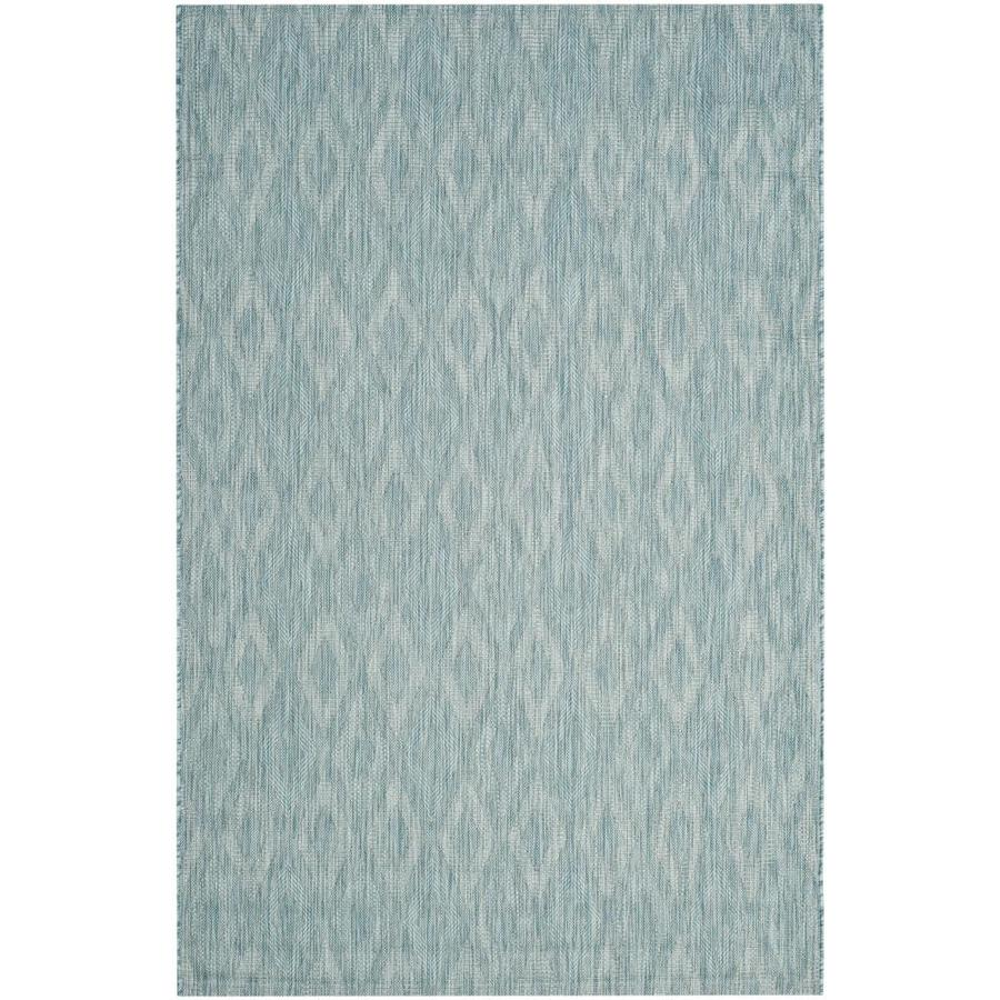Safavieh Courtyard Freeport Aqua/Aqua Rectangular Indoor/Outdoor Machine-made Coastal Area Rug (Common: 5 x 7; Actual: 5.25-ft W x 7.58-ft L)