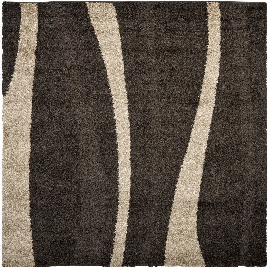 Safavieh Willow Shag Dark Brown/Beige Square Indoor Machine-made Tropical Area Rug (Common: 5 x 5; Actual: 5-ft W x 5-ft L)