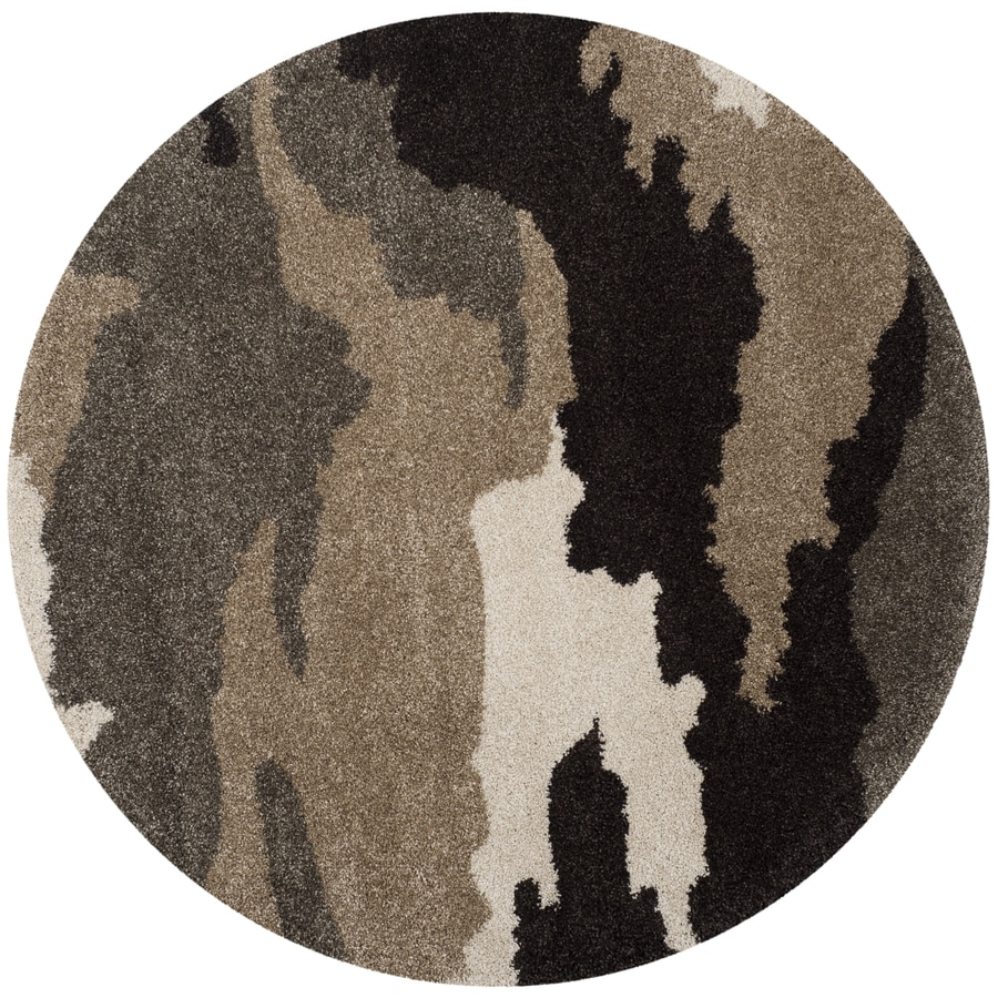 Safavieh Camouflage Shag Beige/Multi Round Indoor Machine-Made Lodge Area Rug (Common: 5 x 5; Actual: 5-ft W x 5-ft L x 5-ft Dia)