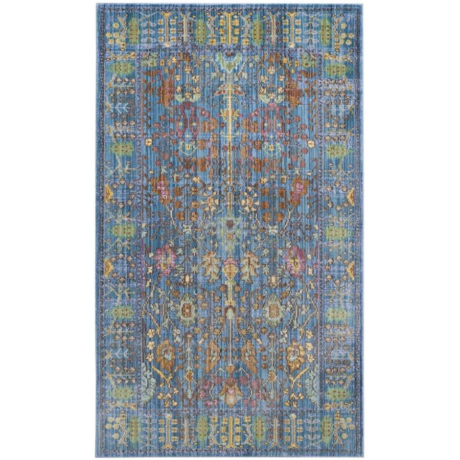 Safavieh Valencia Odessa Blue Indoor Distressed Throw Rug (Common: 3 x 5; Actual: 3-ft W x 5-ft L)