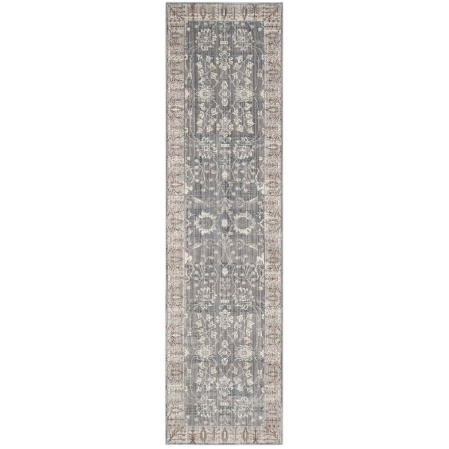 Safavieh Valencia Dawn Dark Gray/Light Gray Indoor Distressed Runner (Common: 2 x 10; Actual: 2.25-ft W x 10-ft L)
