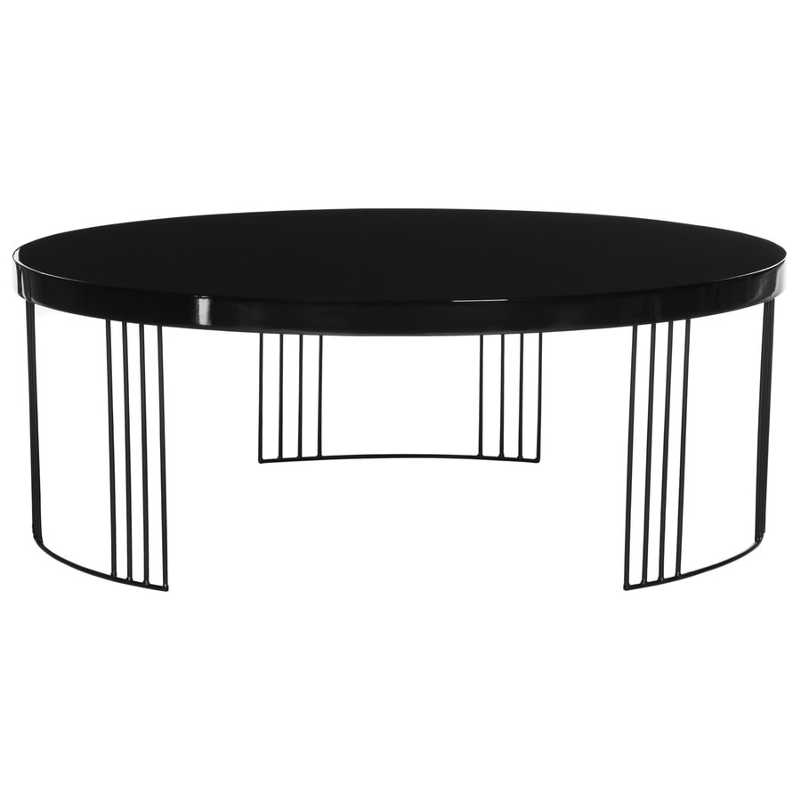 Shop safavieh keelin black round coffee table at for Black circle coffee table