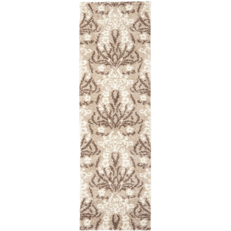 Safavieh Florida Shag Beige/Cream Rectangular Indoor Machine-Made Runner