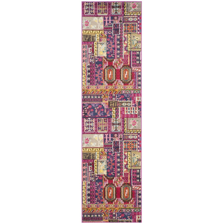 Safavieh Monaco Sabrina Pink Rectangular Indoor  Lodge Runner (Common: 2 x 12; Actual: 2.2-ft W x 12-ft L)