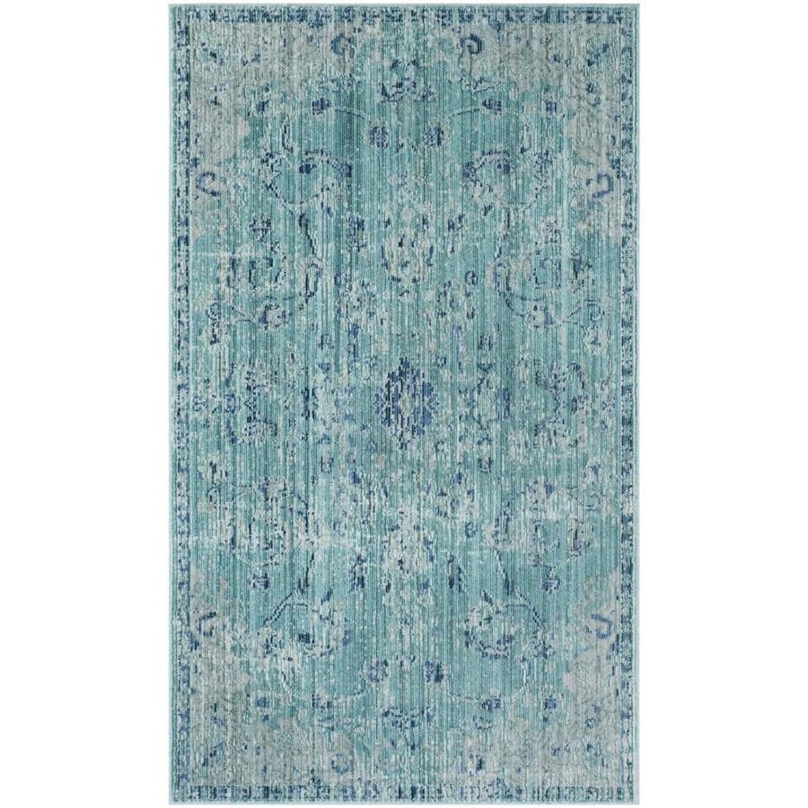 Safavieh Valencia Tabitha Teal Indoor Distressed Throw Rug (Common: 3 x 5; Actual: 3-ft W x 5-ft L)